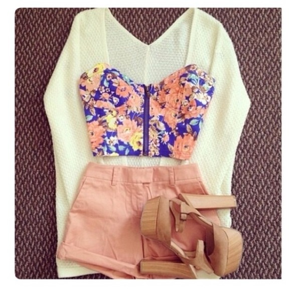 shorts color. highwaisted shirt sweater shoes