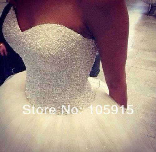 2014 New Custom Made Real Sample Tulle With Pearls Sweetheart Open Back Ball Gown Big Train Wedding Dresses Bridal Gowns-in Wedding Dresses from Apparel & Accessories on Aliexpress.com | Alibaba Group