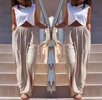 skirt top white beige beige skirt maxi crop tops tank top