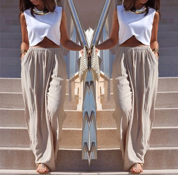 skirt beige skirt tank top top white beige maxi crop tops