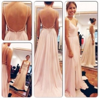 dress light pink blush long open back strappy prom