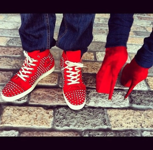 red shoes spiked shoes shoes sneakers