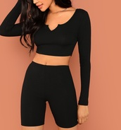 romper,girly,girl,girly wishlist,black,two-piece,crop tops,cropped,crop,bike shorts,biker shorts