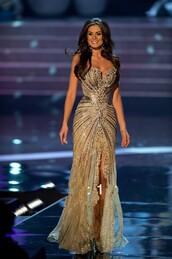 dress,summer pageant dresses,evening dress,gold side slit crystal beaded