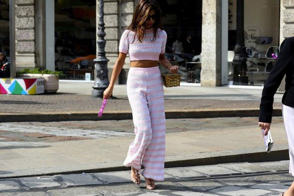 crop tops top fashion week 2014 pants high waisted pants streetstyle