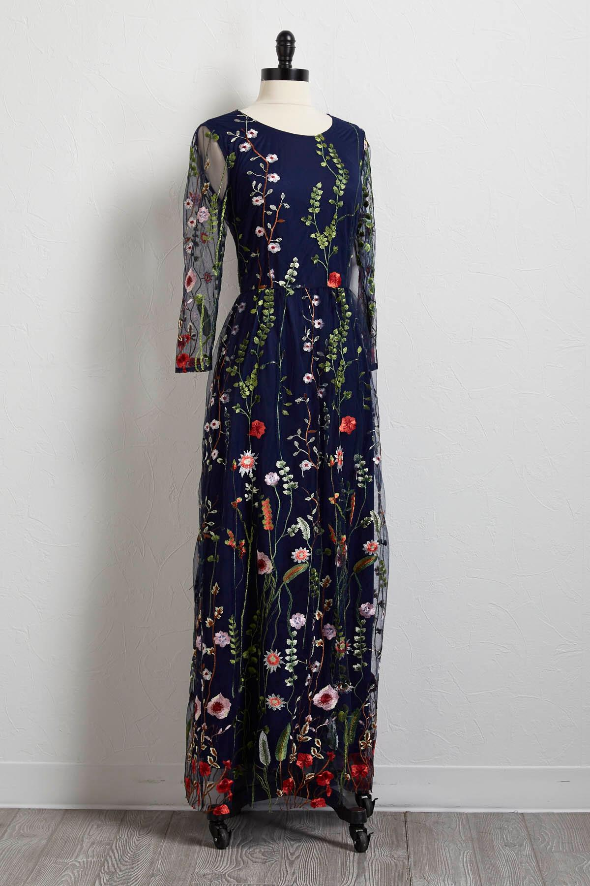 1531324fa25 embroidered floral mesh maxi dress