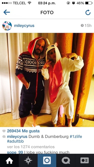 pajamas miley cyrus unicorn pink and white onesie
