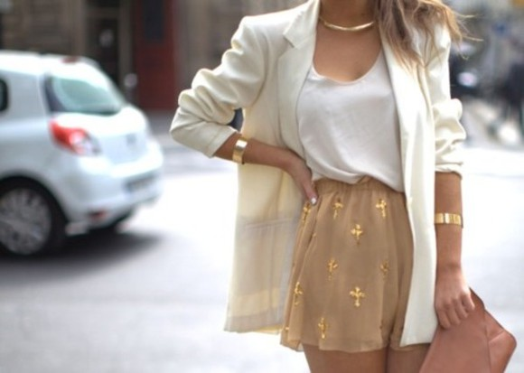 jacket blazer tank top blouse shorts beautiful white jacket white blazer white blouse white summer top white chiffon top white tank top dressy shirt chiffon print shorts cross short gold skirt glitter gold sequins white
