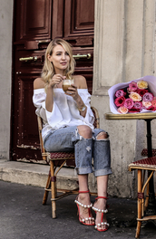 ohh couture,blogger,jewels,bag,shoes,off the shoulder,long sleeves,white top,ripped jeans,grey jeans,red heels,white off shoulder top,top,off the shoulder top,blue jeans,cuffed jeans,sandals,sandal heels,high heel sandals,red sandals,pearl