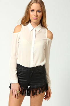 Alicia cut out shoulder long sleeve blouse at boohoo.com