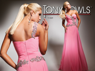 dress tony bowls dress prom dress one shoulder pink prom dress