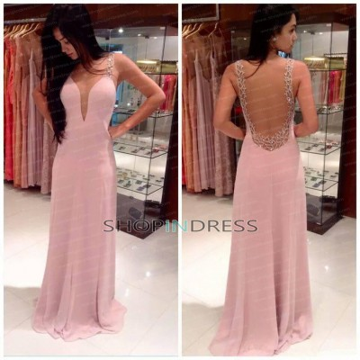 Line strapless floor length chiffon blush evening dress with beaded npd2216 sale at shopindress.com