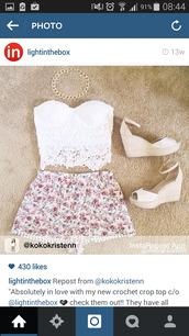 top,white lace bandeau