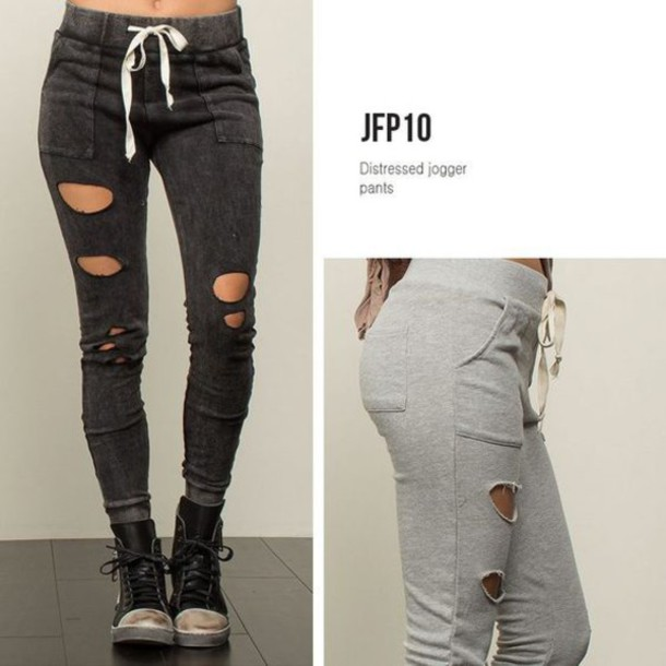 a307d6e4d0b464 pants, ripped, joggers pants, joggers, black, grey, shoes - Wheretoget