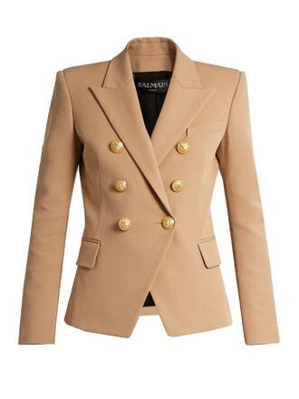 blazer cotton tan jacket