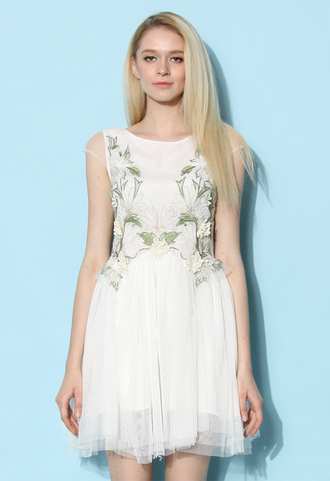 dress chicwish white dress summmer dress orchid embroidered fairy tulle dress in white tulle dres summer dress chicwish.com embroidered dress