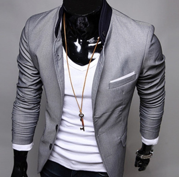waist jacket grey blazer tight