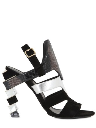 python sandals suede silver black shoes