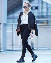 jacket,zaful,black,fashion,casual,lookbook,lace up,bomber jacket,black and white,mirrored sunglasses,high waisted jeans,casual chic