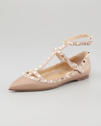 Valentino Rockstud Leather Caged Ballerina, Alpaca  - Neiman Marcus