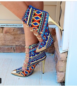 boots high heels style shoes pointed toe bootie rainbow