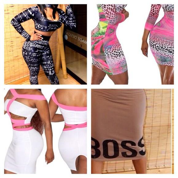 bodysuit bodycon dress graffiti boss irenethedream