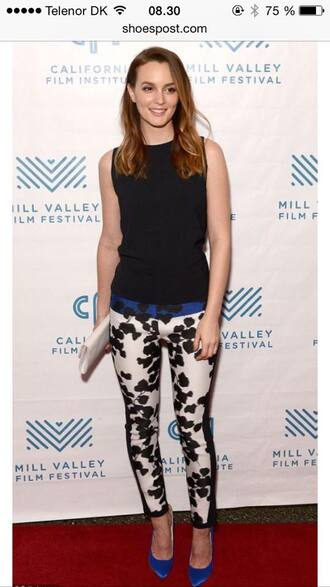 pants leighton meester gossip girl red carpet celebrity gorgeous beautiful blue white black floral