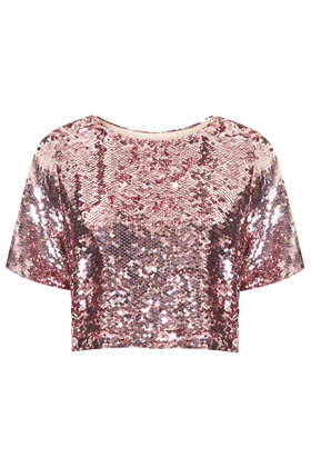 Sequin Crop Tee - Topshop