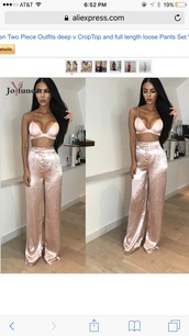 jumpsuit,satin,two-piece
