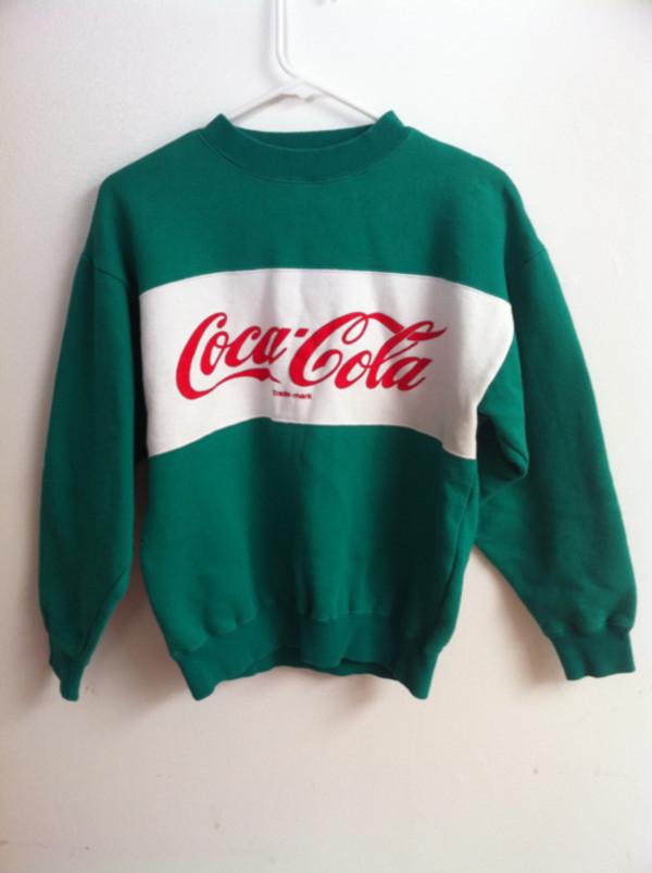 sweater green coca cola