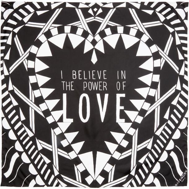 Givenchy love scarf black silk