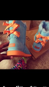 ugg boots,shoes,blue,orange bow,turquoise and orange ugg s,bows,orange,turquoise,cardigan,blue and orange uggs,bailey bows,blue and orange