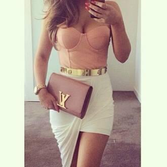 white skirt draped asymmetrical