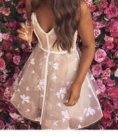 dress,pink floral sheer skater dress