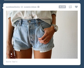 shorts,denim,blue,watch,white,shirt,high waisted,acid wash,High waisted shorts