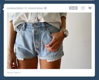 shorts denim blue watch white shirt high waisted acid wash high waisted shorts