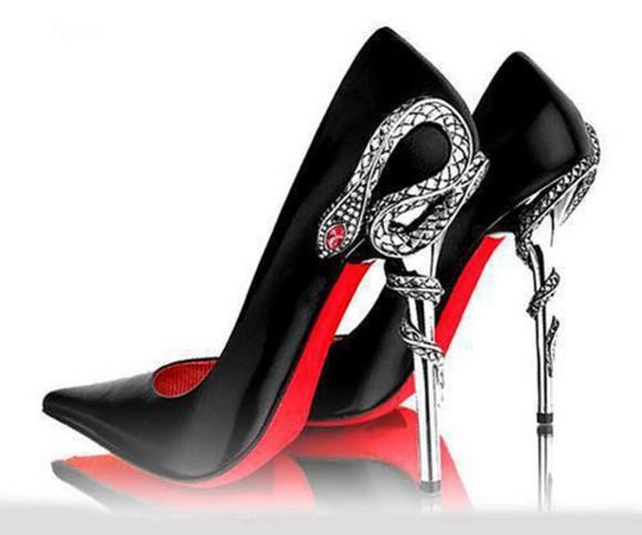 black heels shoes snake xx