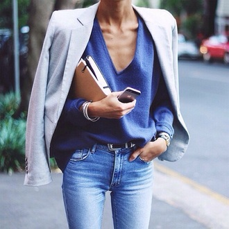 sweater blue v-neck cardigan sweaters jeans jacket sky blue  jeans high waisted jeans fluffy blue sweater jewels bag office outfits top outfit chic tumblr v neck blazer grey blazer denim blue jeans belt iphone