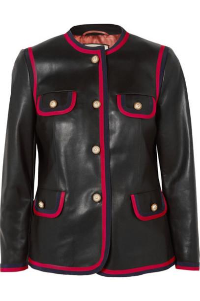 gucci jacket leather jacket leather black