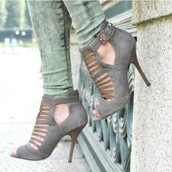shoes,grey,fashion,style,trendy,high heels,heels,peep toe heels,fall outfits,fsjshoes,open toes