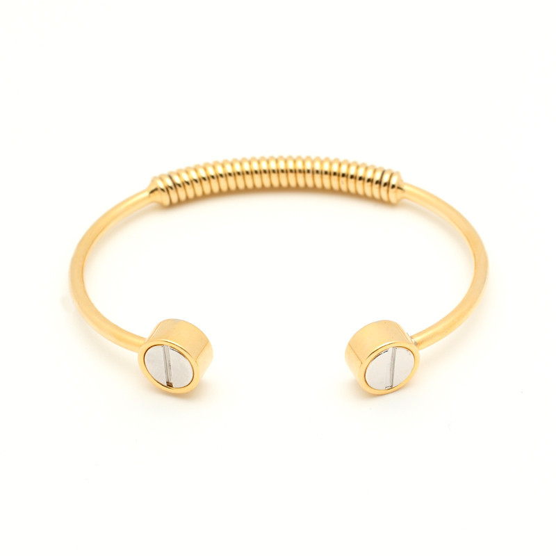 Silver Screw Bangle - Gold
