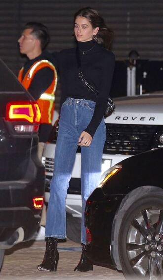 bag turtleneck kaia gerber model off-duty streetstyle jeans ankle boots top