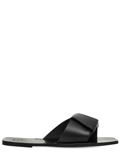 ATP ATELIER 10mm Leather Slide Sandals Black