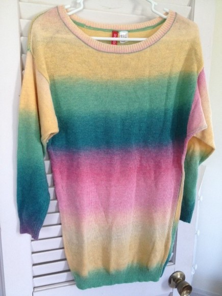 oversized ombre rainbow patel h&m h and m baggy oversized sweater tie dye