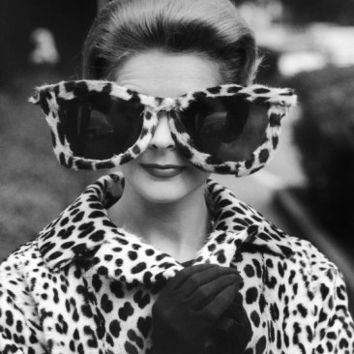 Model June Pickney Sporting Leopard Fur Coat and Huge Leopard Fur Rimmed Sunglasses Photographic Print by Stan Wayman at Art.com on Wanelo