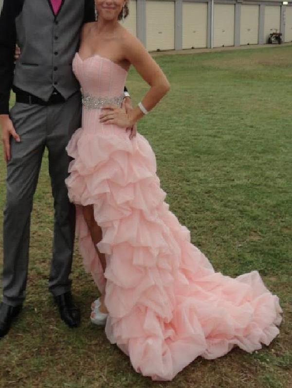 dress prom prom dress pink dress amazing sparkle ruffle pink prom dress high-low dresses