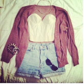 jacket shorts blue sunglasses black shades glasses spikes spike bracelets white top short red cardigan redcardigan shirt