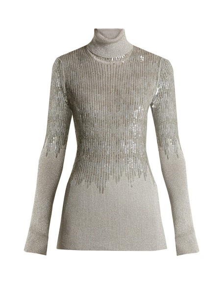 sweater embellished knit silver