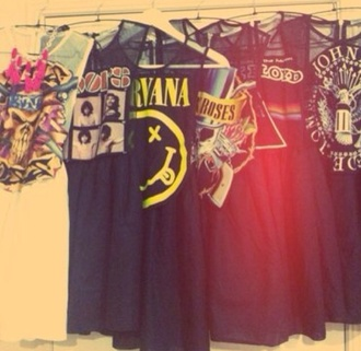 black grunge dress nirvana pink floyd guns and roses acdc