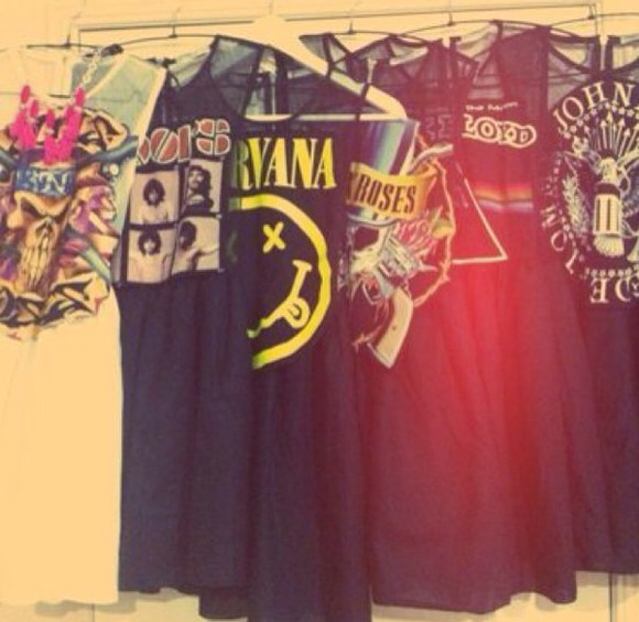 dress nirvana pink floyd guns and roses black grunge acdc